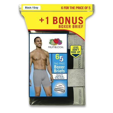Fruit of the Loom Men's Black and Grey Boxer Briefs, 5+1 Bonus Pack