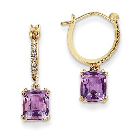 14k Yellow Gold Diamond & Amethyst Dangle Hoop Earrings Wt- 0.09ct. Gem Wt- 2ct (0.8IN x 0.4IN )