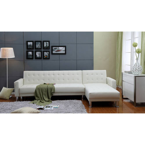 Incadozo 2PC Bi-Cast Leather Sectional Sofa Bed with Storage, Multiple Colors