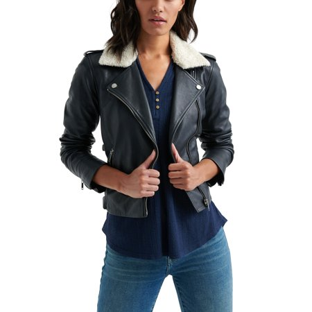 Lucky Brand | Sherpa-Collar Leather Jacket | Blue Fitted Leather Jacket