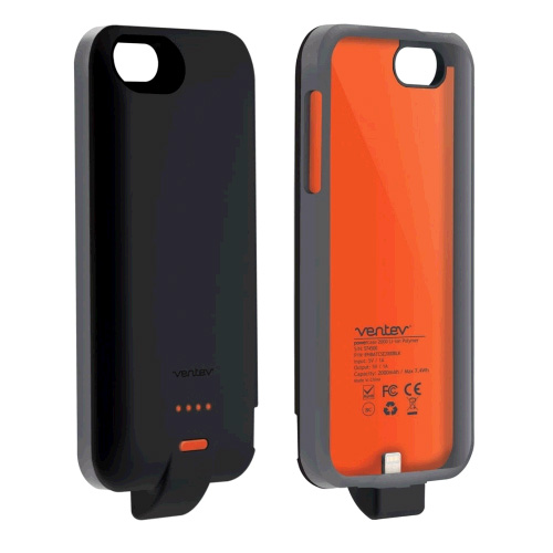 Ventev PowerCase 2000 - Power bank + AC power adapter - 2000 mAh - black - for Apple iPhone 5