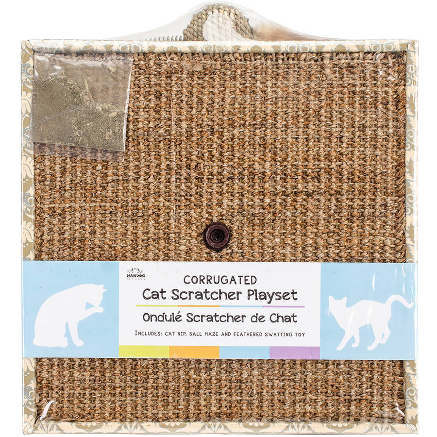 Nandog Pet Gear Nandog Square Cat Scratcher Play Set with Feather, 11 x 11 x 3, Beige Damask Print