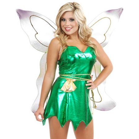 Womens Sexy Metallic Green Tinker Bell or Peter Pan - Tinkerbell And Peter Pan Costume