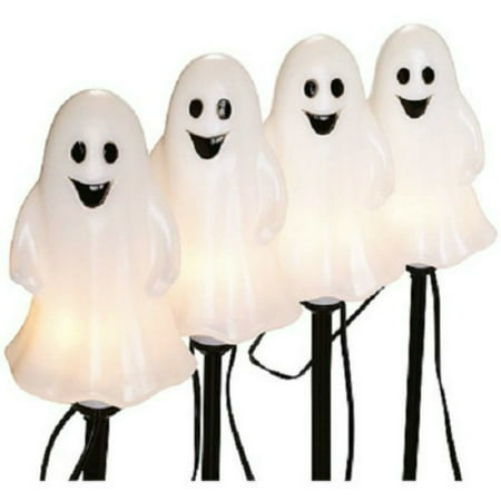 Noma/Inliten-Import V37135-88 Halloween Pathway Lights, Ghost, 4-Pc. Set - Halloween Ghost Window Silhouette