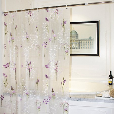 Tayyakoushi Mildew Resistant shower curtain Liner with Hooks,Purple Flower Butterfly EVA Bathroom Curtains, Classical Water Proof, Antibacterial, Nontoxic,72x72''