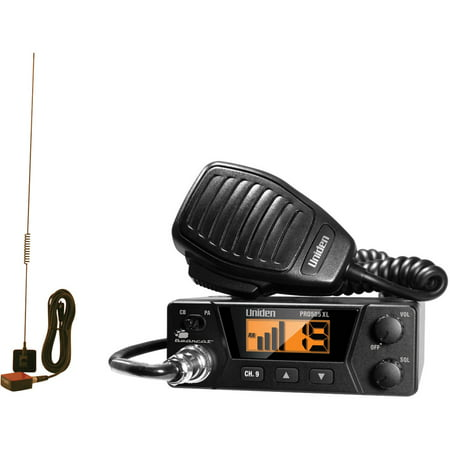 Uniden PRO505XL 40-Channel Bearcat Compact CB Radio and Tram 1198 Glass Mount CB With Weather-Band Mobile Antenna (Blue Cb Antenna)