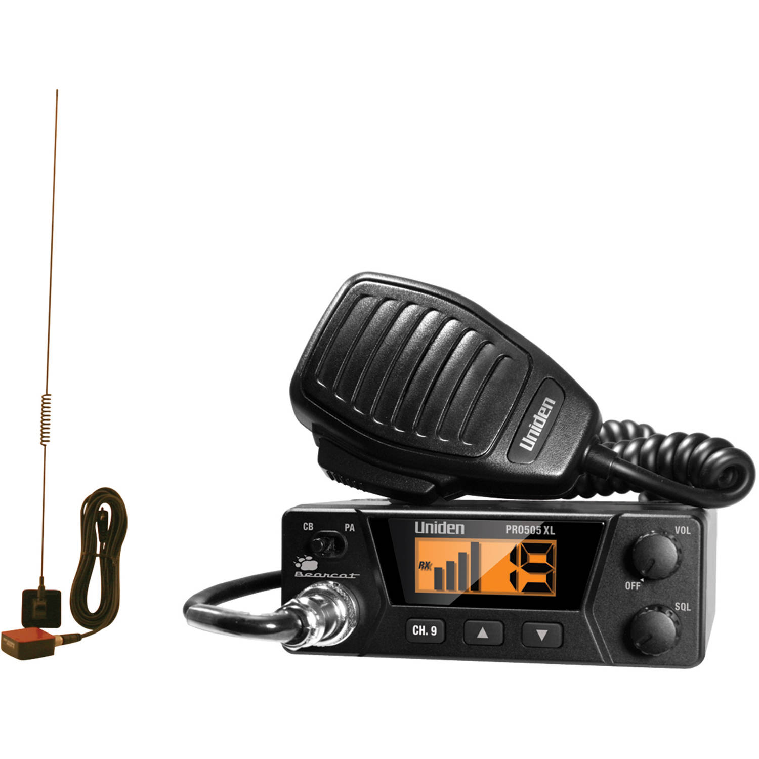 Uniden PRO505XL 40-Channel Bearcat Compact CB Radio and Tram 1198 Glass Mount CB With Weather-Band Mobile Antenna