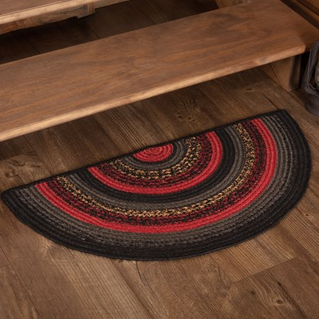 Chili Pepper Red Rustic Flooring Shasta Cabin Jute Half Circle Accent Rug