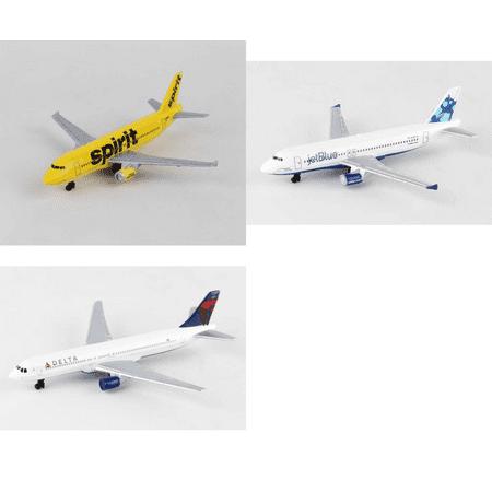 Spirit  Jetblue  Delta Airlines Diecast Airplane Package   Three 5 5  Diecast Model Planes