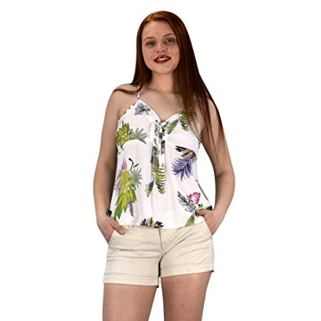 Peach Couture Floral Leaf Print Spaghetti Strap Tie Neck Blouse Tops Shirts White Medium