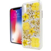 MUNDAZE Yellow Spring Flower Power Glitter Flakes Case For Apple iPhone X Phone