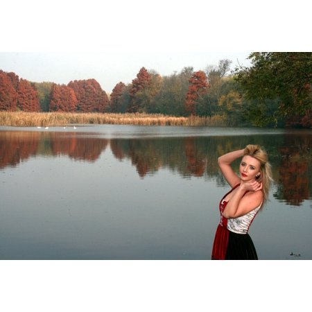 Framed Art for Your Wall Red Princess Reflection Lake Forest Autumn Girl 10x13 Frame - Princess Frame