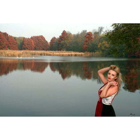 Framed Art for Your Wall Red Princess Reflection Lake Forest Autumn Girl 10x13 Frame](Princess Frames)