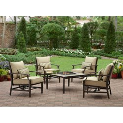 Better Homes and Gardens Shutter 5-Piece Aluminum Patio Conversation Set with Fire Pit