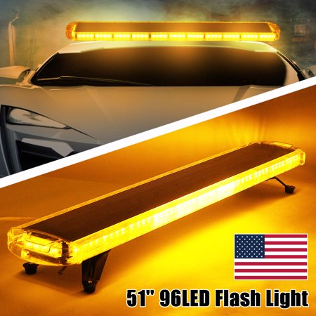 51'' 96 LED Car Strobe Light Warning Emergency Flashing Lamp Bar Beacon Amber (Strobe Light Online)