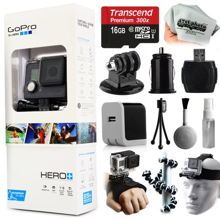 GoPro HERO+ Camera Camcorder (CHDHC-101) with Starter Accessories Kit includes 16GB Card + Home & Car Charger + Head Helmet Strap + Hand Glove + Flexible Octopus Tripod + Dust Cleaning Kit + More