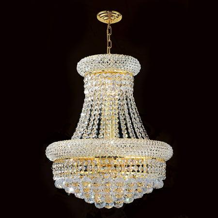 Crystal Chandelier Gold Finish (Worldwide Lighting W83030G20 Empire 14-Light 1 Tier 20