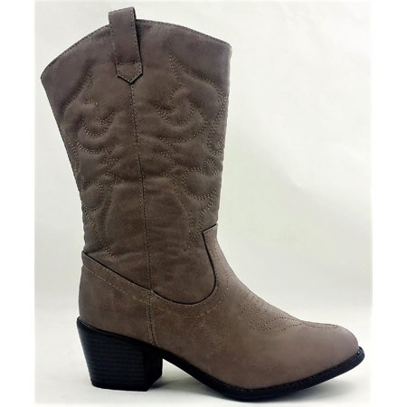 BDW-14W Western Cowboy Cowgirl Mid Calf Pointed Toe Stitched Boots Taupe](Light Up Cowgirl Boots)