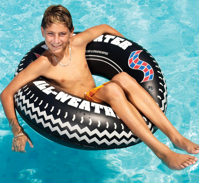 "Swimline 9021 36"" Inflatable Swimming Pool River Lake Floating Tire Tube Ring"