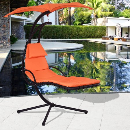 costway hanging chaise lounge chair arc stand air porch swing hammock chair canopy orange. Black Bedroom Furniture Sets. Home Design Ideas