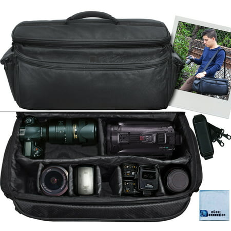 - Extra Large Soft Padded Camcorder Equipment Bag / Case For Canon, Nikon, Sony, Samsung, Olympus & Pentax + eCostConnection Microfiber Cloth
