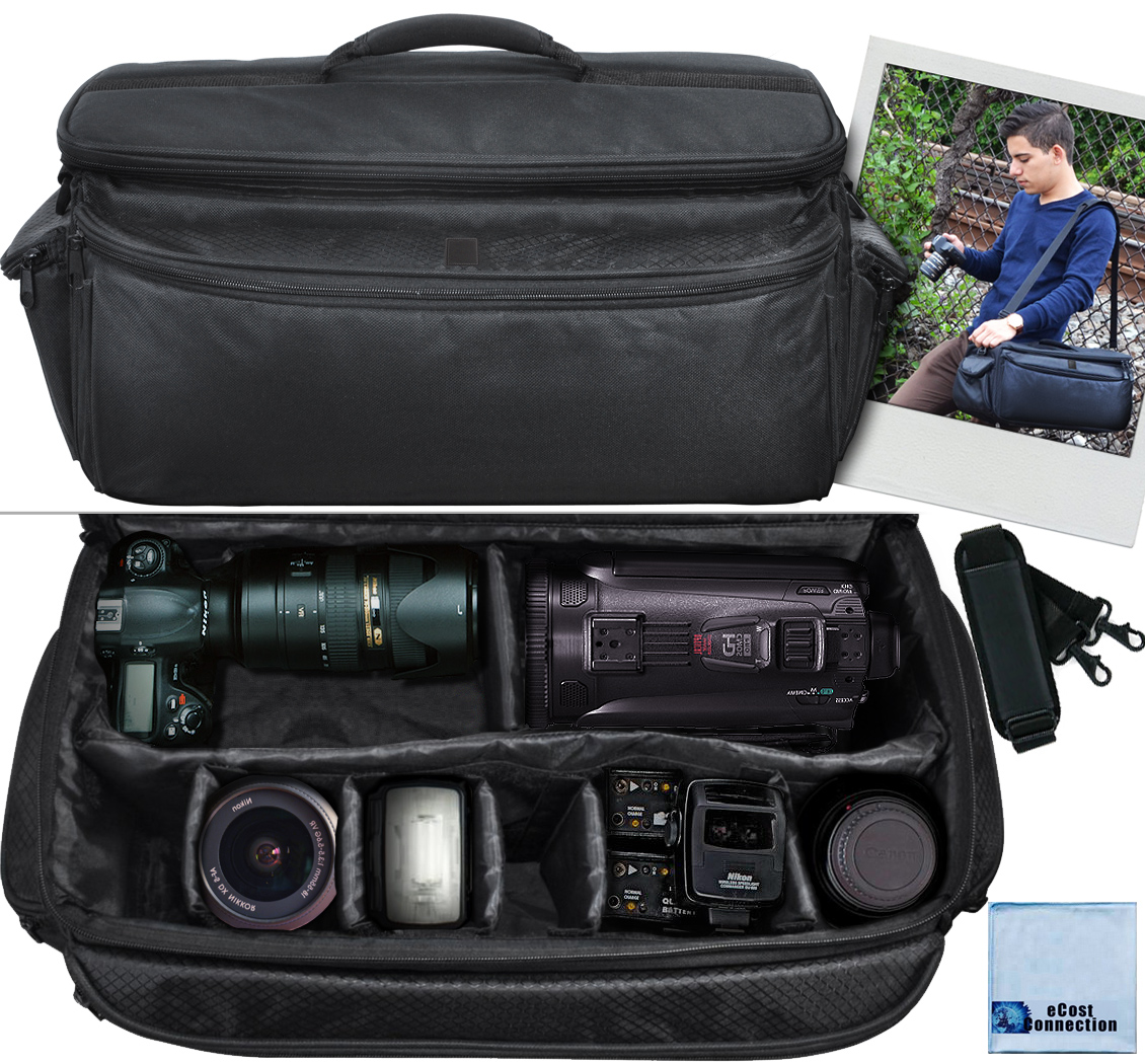 Extra Large Soft Padded Camcorder Equipment Bag / Case For Canon, Nikon, Sony, Samsung, Olympus & Pentax + eCostConnection Microfiber Cloth