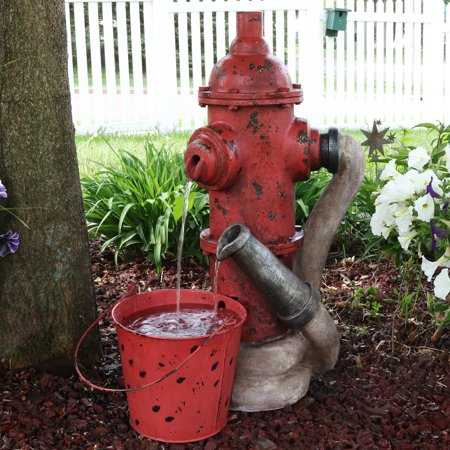Sunnydaze Fire Hydrant Water Fountain with Bucket, Outdoor Garden Waterfall Feature, 28-Inch Tall ()