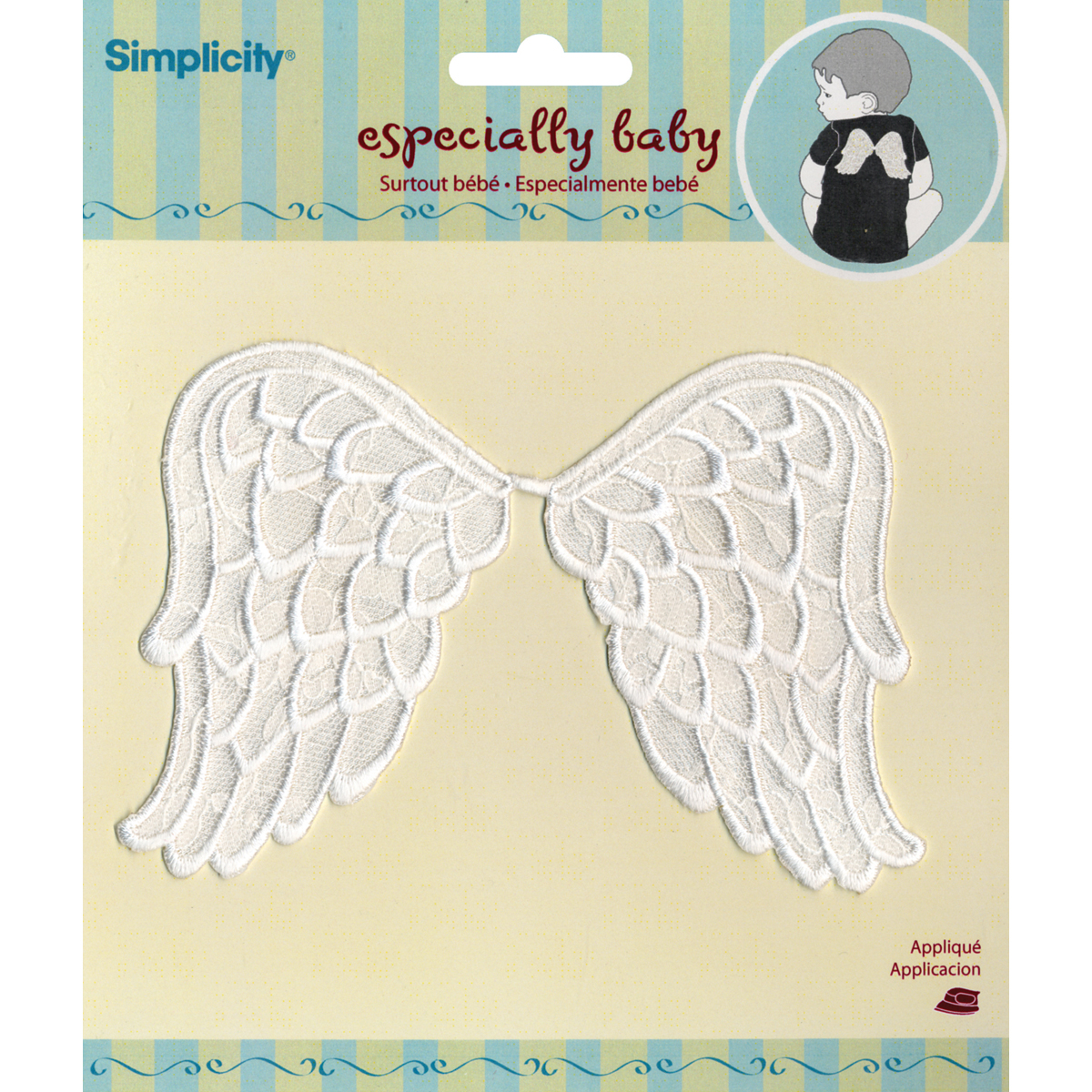 Simplicity Especially Baby Iron-On Applique-White Angel Wings