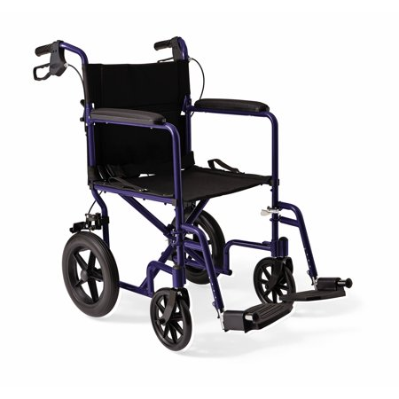 """Medline Lightweight Transport Wheelchair with 12"""" Rear Wheels, Folding Transport Chair, 300lb Weight Capacity, Red Frame"""