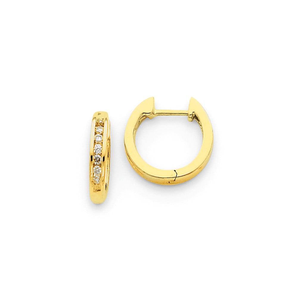 14k Yellow Gold Diamond Hinged Hoop Huggie Earrings. Carat Wt- 0.18ct (0.5IN Diameter)