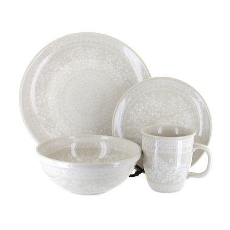 Polish Pottery White Lace 16 Piece Dinnerware Set