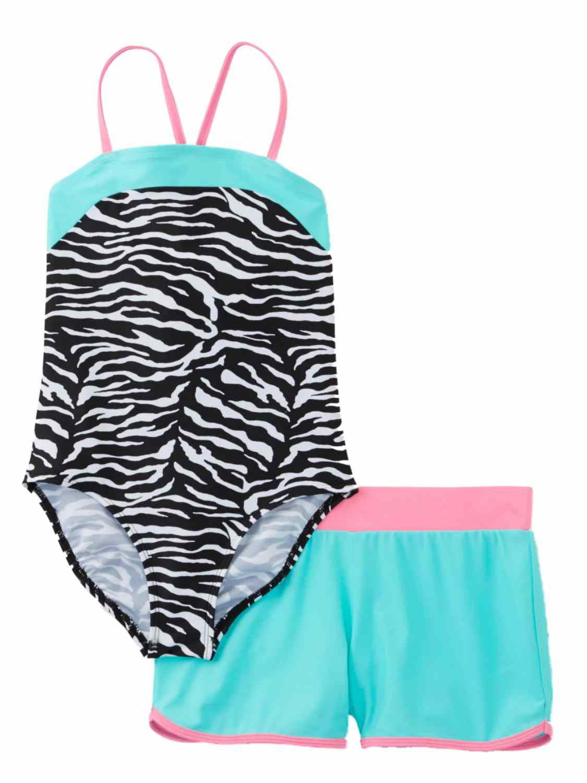 Joe Boxer Girls 2 Piece Swim Set Black Zebra Swimming Suit & Teal Shorts