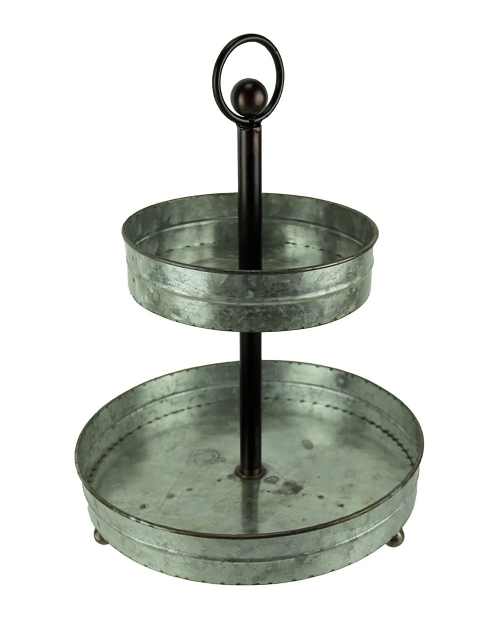 Rustic Round 2 Tier Galvanized Metal 16 Inch Tall Country Farmhouse Serving Tray Walmart Canada