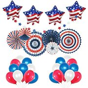 4th of July Decorations USA Star Balloons, Paper Fan for Patriotic Decorations, Star Garland, Independence Day Party Supplies - 41pc Set