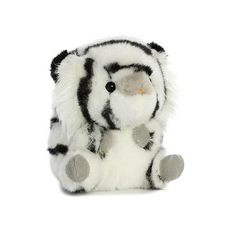 Opal White Tiger Rolly Pet 5 inch - Stuffed Animal by Aurora Plush (16828) - White Tiger Plush