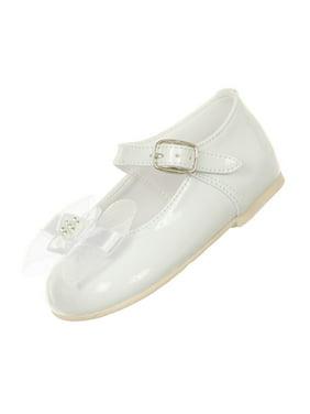 Rain Kids Little Girls White Patent Bow Glittery Stud Dress Shoes 5-6 Toddler