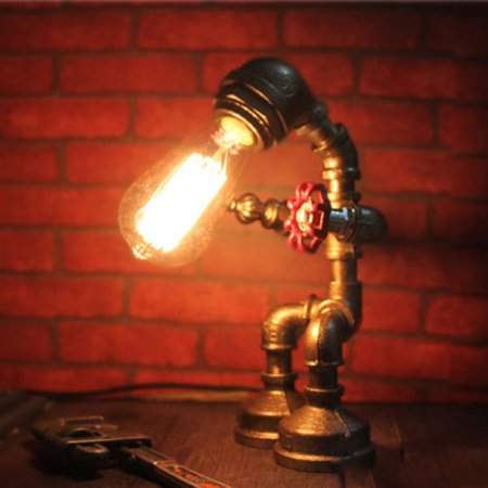 - Aimeeli Industrial Man Robot Table Desk Lighting Retro Water Pipe Steampunk Lamp Bedroom