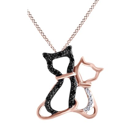 (Black & White Natural Diamond Kitty Cats Pendant Necklace 14k Rose Gold Over Sterling Silver)