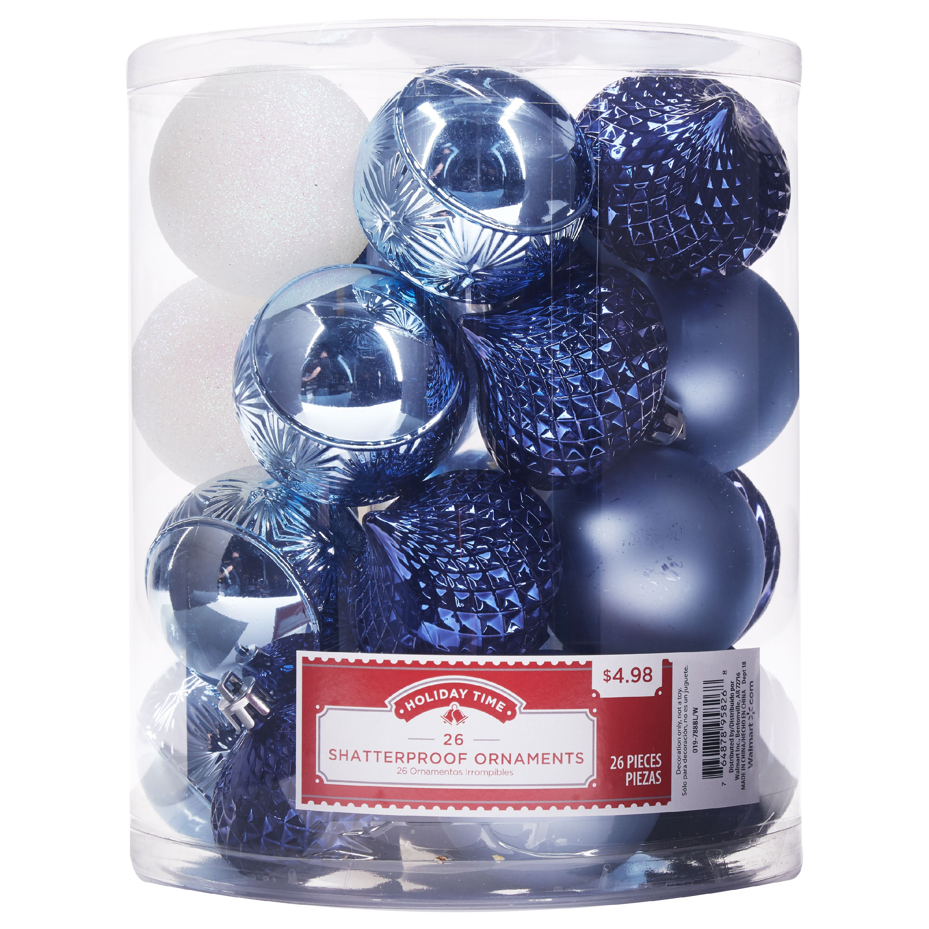 Holiday Time Shatterproof Ornaments, Blue & White, 26 Count