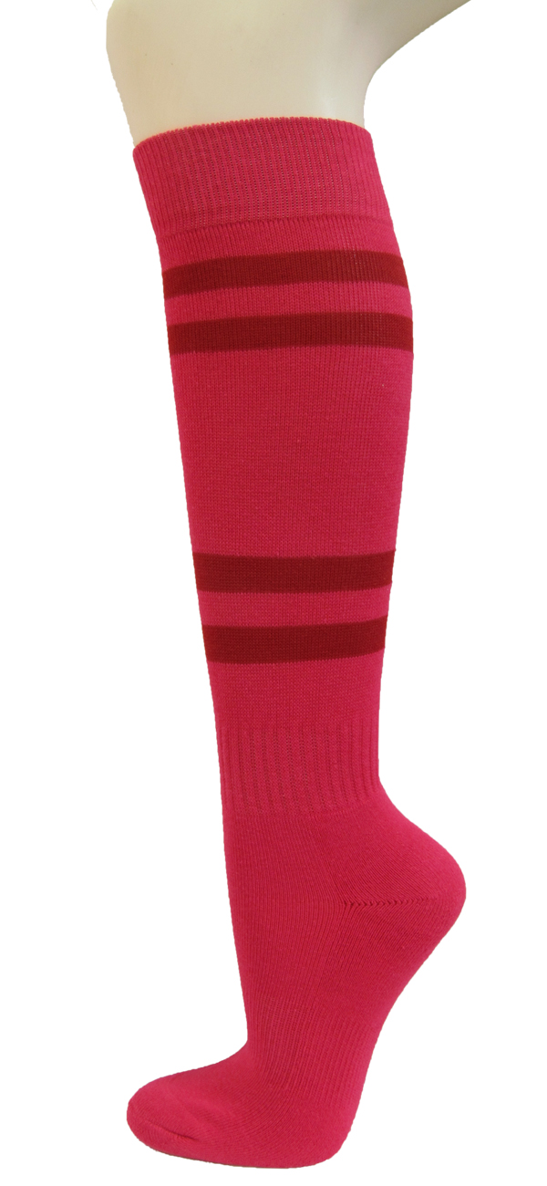 Couver Mens Bright Pink Striped Knee High Baseball//Sports//Softball//Athletic Socks