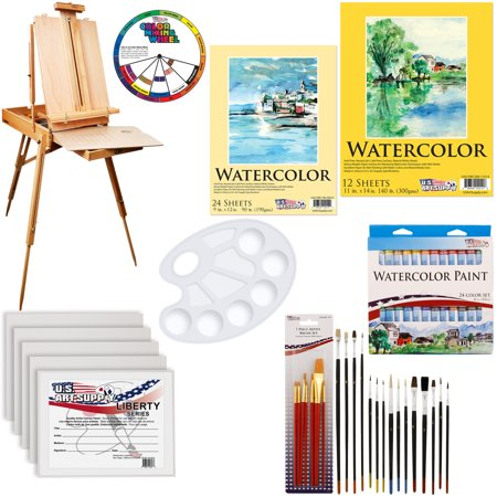 US Art Supply 57-Piece Custom Watercolor Artist Paint Kit w/ Coronado Easel](Watercolor Supplies)
