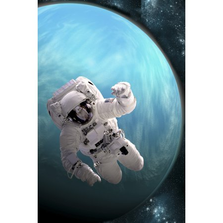 - Artists concept of an astronaut floating in outer space A water covered planet is illuminated by a nearby star Poster Print