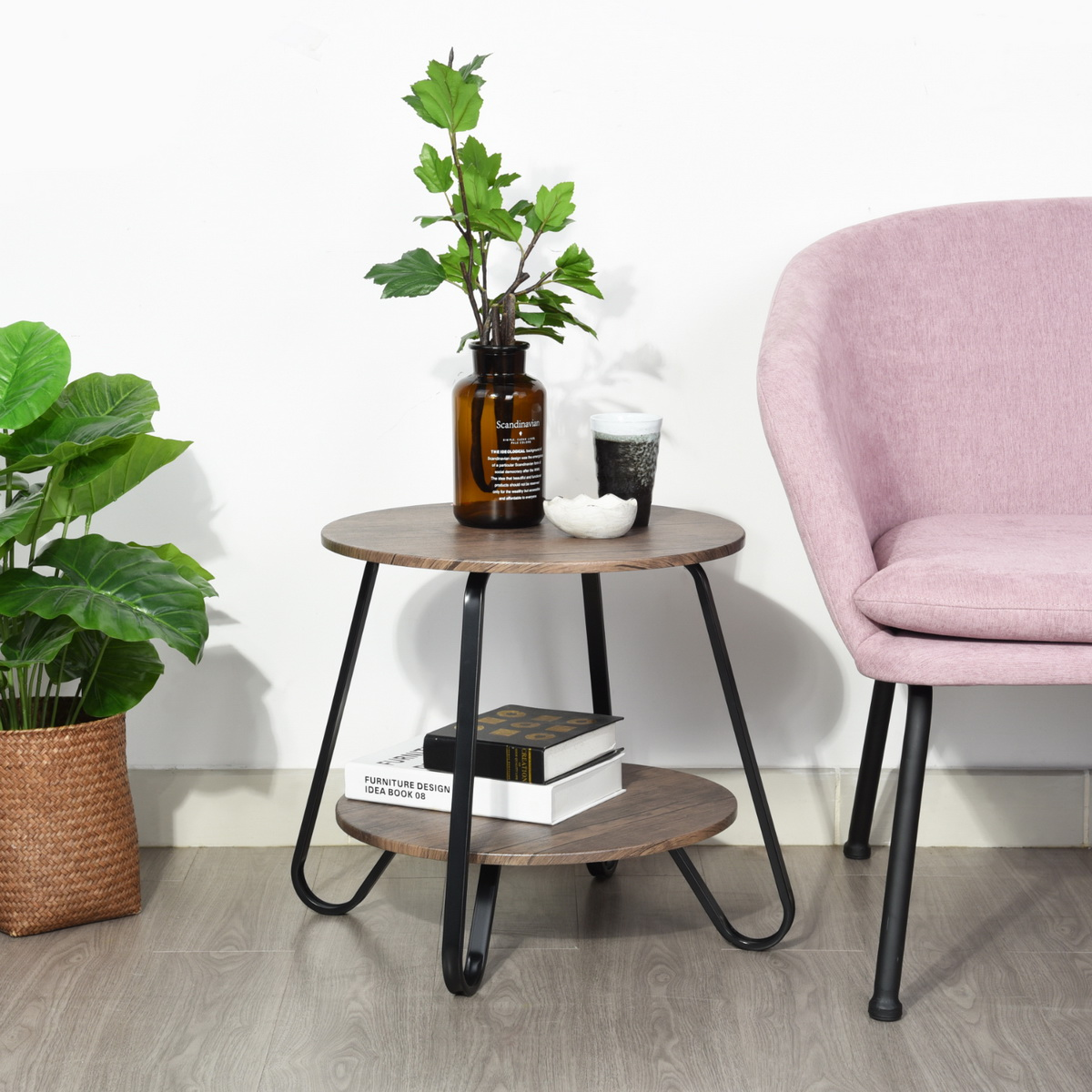 Round Table Top Li Storage Shelf, Small Round End Table With Drawer
