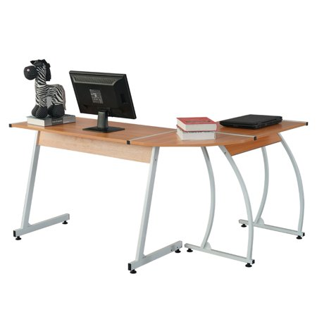 L-Shaped Durable E1 15MM Chipboard & 0.7mm Steel Arc Legs Splicing Computer Desk Wood Color ()