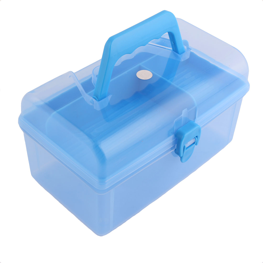 Home Plastic Dual Layers Sundries Storage Case Box Container Clear Blue