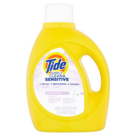 Tide Simply Clean & Sensitive Cool Cotton Scent Liquid Laundry Detergent, 100 fl oz