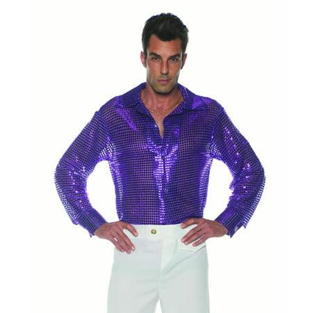 Purple Sequin Mens Adult 70S Disco Costume Accessory Shirt