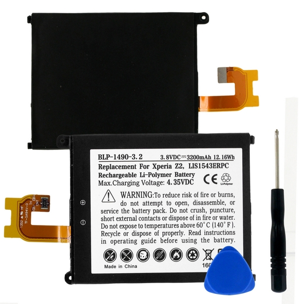 Sony Xperia Z2 Digital Camera Battery (Li-Pol 3.8V 3200mAh) - Replacement For Sony LIS1543ERPC Cellphone Battery (Embedded Battery w/ Tools)