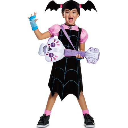Girls Disney Vampirina Web Dress Classic And Spookylele Costume Bundle - Vampirella Halloween