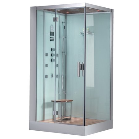 Left Sided Steam Shower with Stool in White